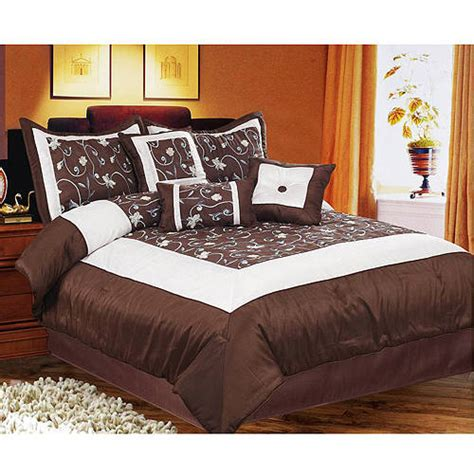 walmart bed in a bag emma 7pc bed in a bag brown walmart com