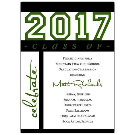 class of celebration green graduation invitations paperstyle