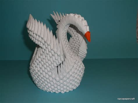 3d Origami - razcapapercraft how to make 3d origami swan model3