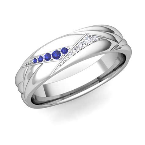 wave mens wedding band   gold diamond sapphire ring