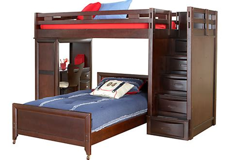 rooms to go twin beds ivy league cherry twin twin step loft w desk twin beds