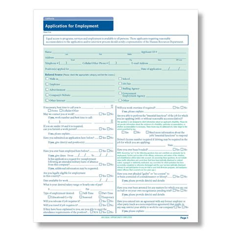 California State Compliant Job Application Employment Application California Template