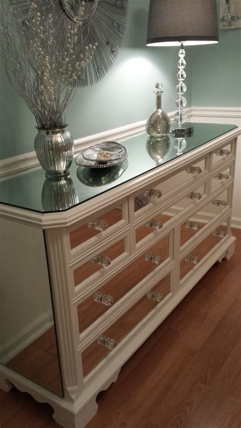 White Dresser With Mirrored Drawers items similar to mirrored dresser white with trim glamorous 10 drawer shabby chic mirror