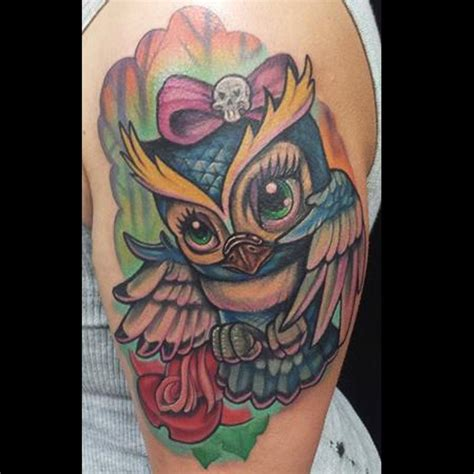 new school girly tattoo girly owl color tattoo by adam aguas tattoonow