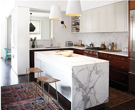 marble kitchen islands waterfall kitchen island inspiration