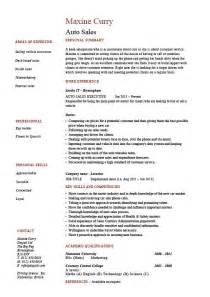 Auto Sales Resume Selling Marketing Example Sample