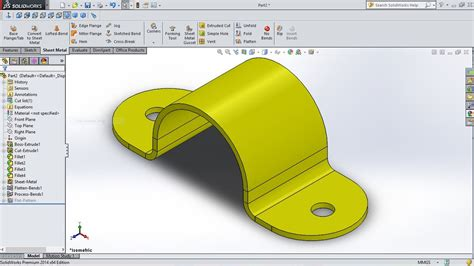 Solidworks Tutorial How To Create A Bracket In Sheet Metal   solidworks tutorial how to create u bracket in sheet metal