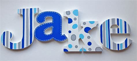 hand painted wooden letters name hangings grey and blue