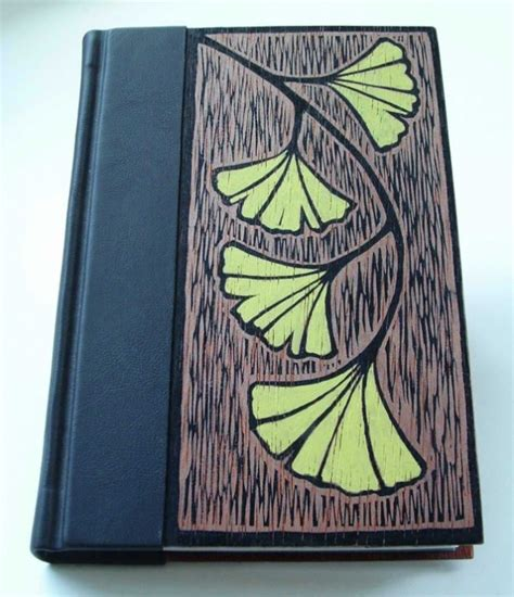 Handmade Book Covers - handmade book bound in leather and wood original block