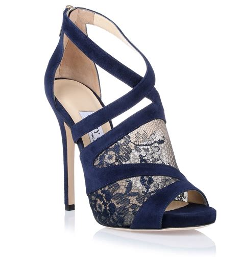 navy shoe jimmy choo vantage navy lace sandal in blue lyst