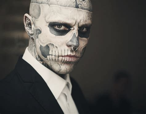 skeleton face tattoo boy