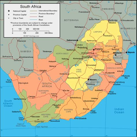 regional map of south africa s 252 dafrika regionen karte