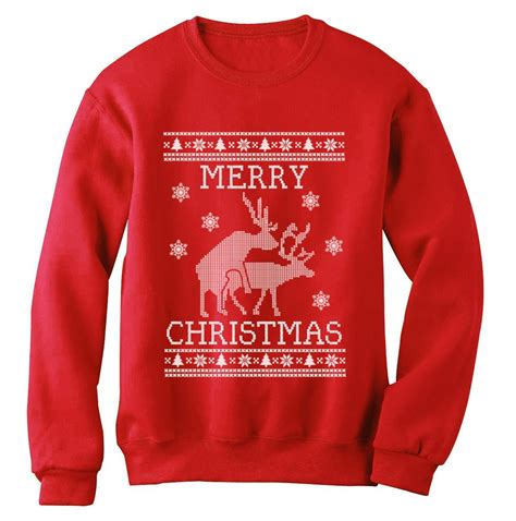design t shirt for holiday reindeer humping ugly christmas sweater sweatshirt merry