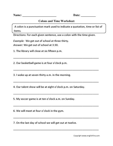 Grammar And Punctuation Worksheets by Punctuation Worksheets Colon Worksheets