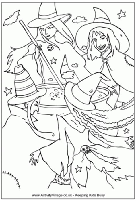 witch cauldron coloring page wicked witch colouring page