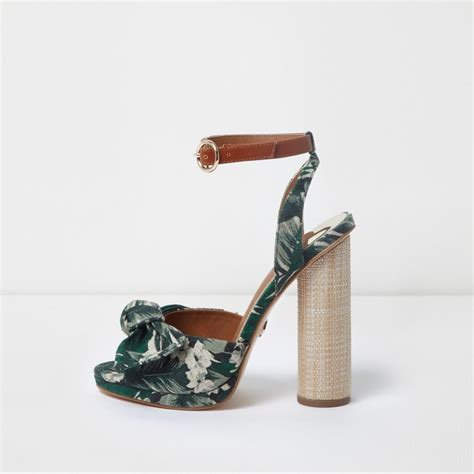 River Islands Bow Trim Sandal by Green Tropical Bow Front Block Heel Sandals Sandals