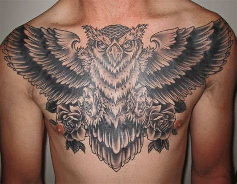 owl chest tattoo lonsdale bondi sydney black and grey owl chest