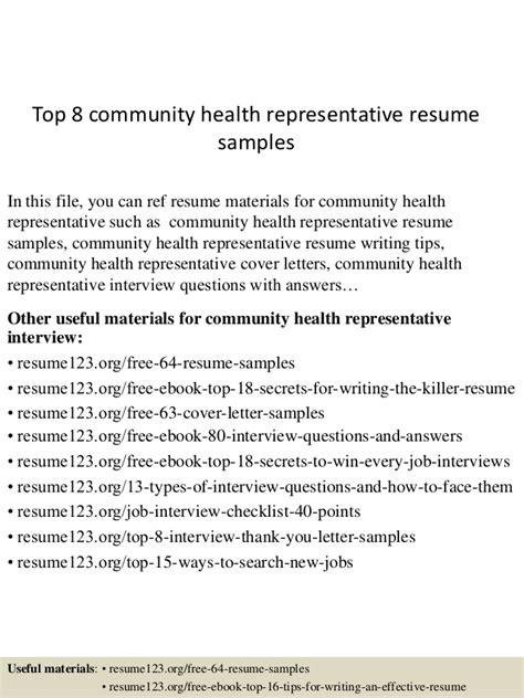 Community Health Representative Cover Letter by Top 8 Community Health Representative Resume Sles