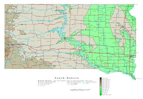 south dakota usa map large detailed elevation map of south dakota state with