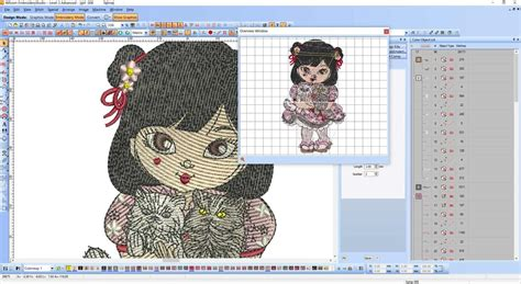 embroidery design wilcom wilcom screenshot japanese girl with cats embroidery