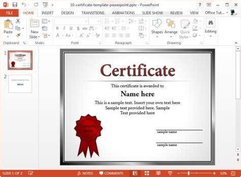 powerpoint award certificate template help with award certificate wording exles free simple