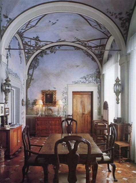 Dining Room Ceiling Murals Dining Room In 90s Italy With A Badass Ceiling Mural And