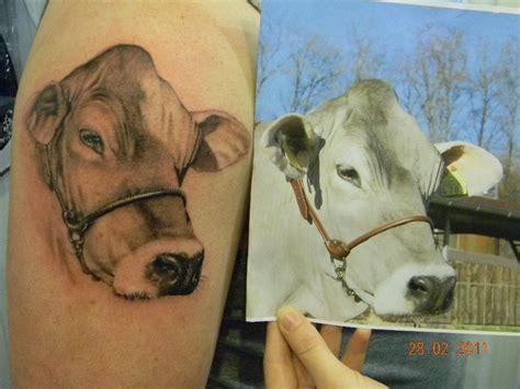 arm realistische kuh tattoo von 2nd skin