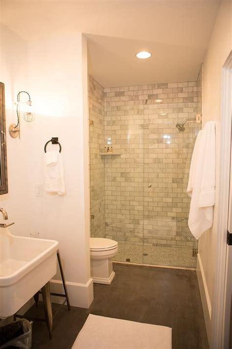 shower ledge shower with marble subway tiles and corner ledge shelf