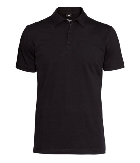 H M Tshirt Polos by H M Polo Shirt In Black For Lyst