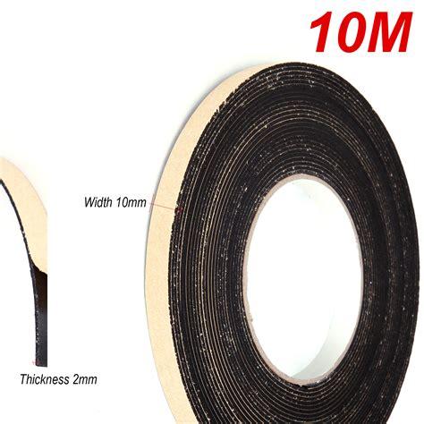 Seal 10m 10mm x 2mm sponge rubber single sided foam closed cell seal 10m black