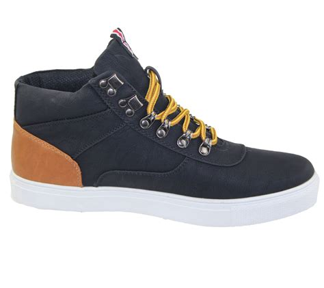 mens lace up boots combat hiking work high top ankle shoes