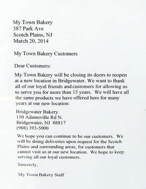 Customer Farewell Letter my town bakery to a new town news tapinto