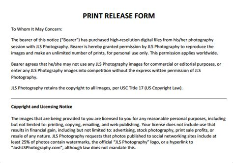 photo print release form template standard release forms related keywords standard