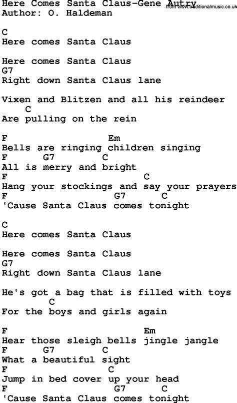 printable lyrics for santa claus is coming to town country music here comes santa claus gene autry lyrics and