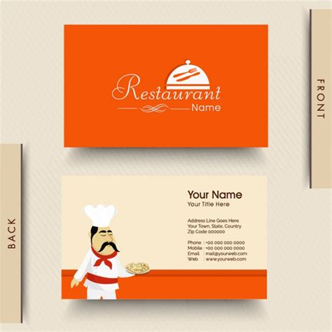 italian id card template orange business card for italian restaurant vector