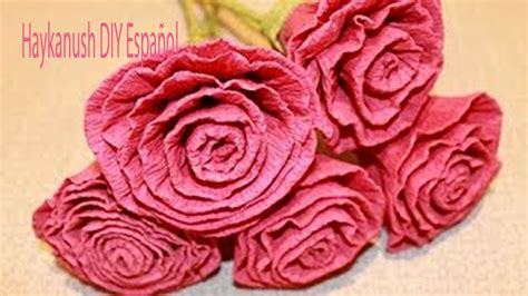 flores de crepe sencillas como hacer flores rosas de papel crepe faciles youtube