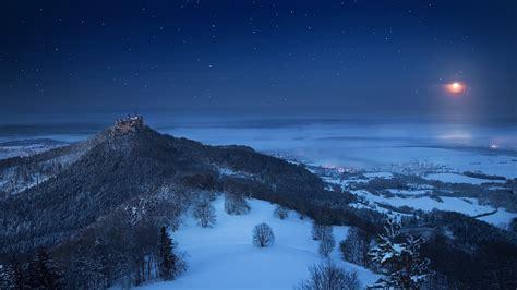 landscape nature winter castle snow forest moon