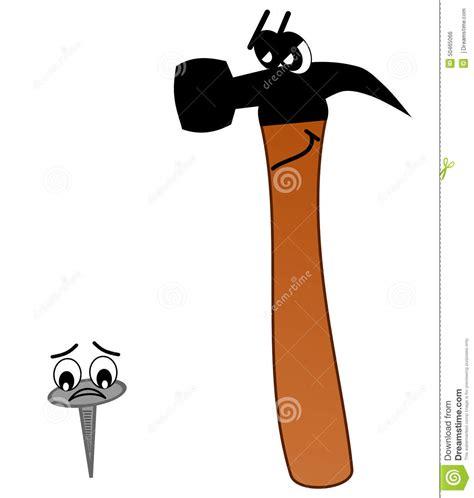 Nagel Und Hammer by Der Hammer Und Der Furchtsame Nagel Stock Abbildung Bild