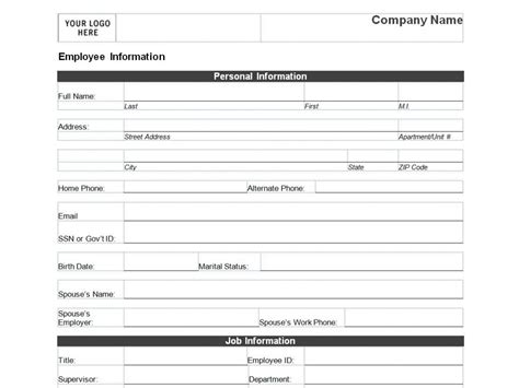 personal forms templates employee personal information form template