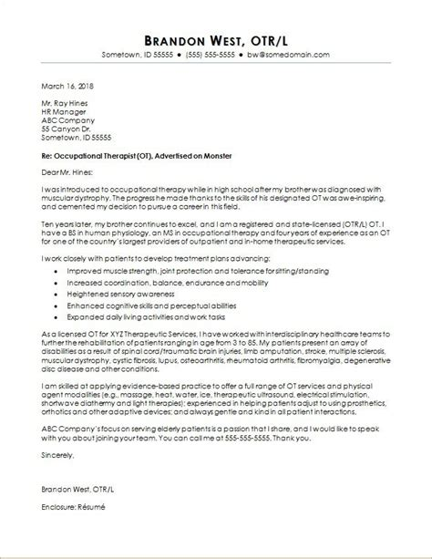 occupational therapy cover letter sample monstercom