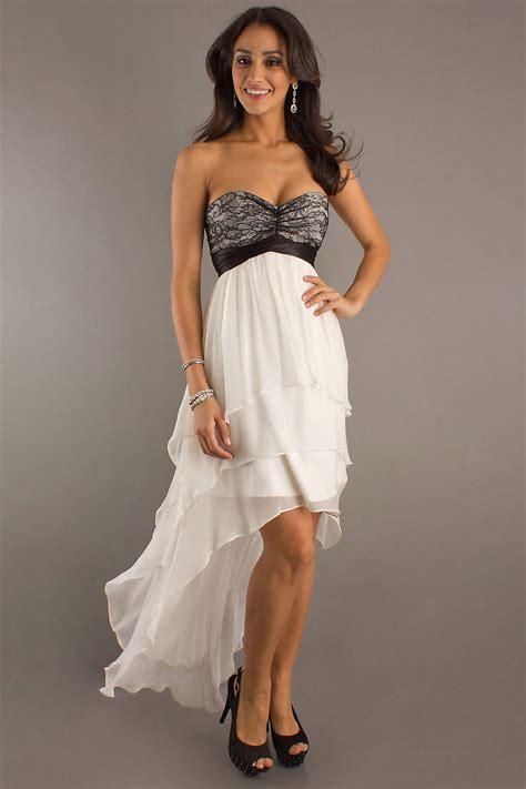 Promo Dress V Black Lorenza D008 robe courte devant longue derriere