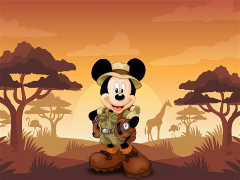 mickey mouse cartoon safari sunset hd wallpaper  wallpaperscom