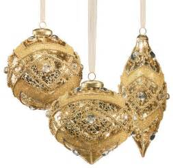 set of six gold vintage glass christmas ornaments with