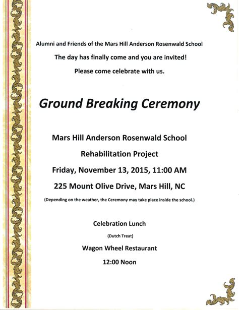 groundbreaking ceremony invitation templates rosenwald school 187 archive 187 groundbreaking