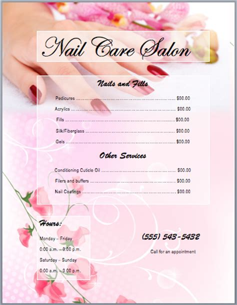 nail services salon price list template printable templates