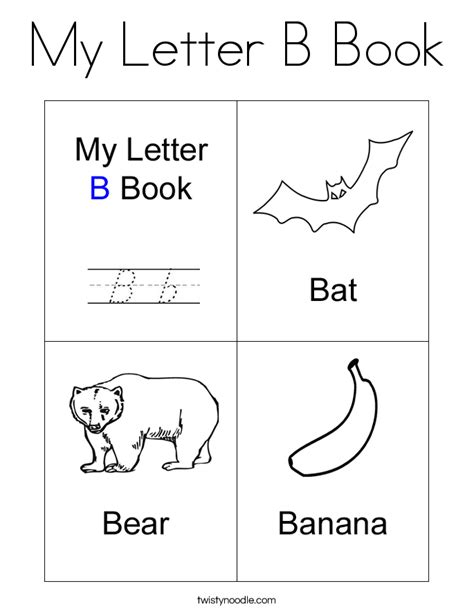 letters to my books my letter b book coloring page twisty noodle
