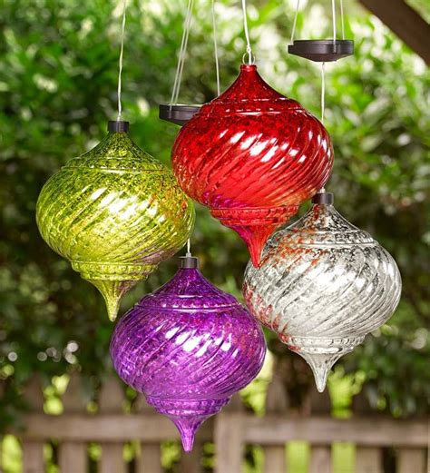 large outdoor solar color changing finial ornament