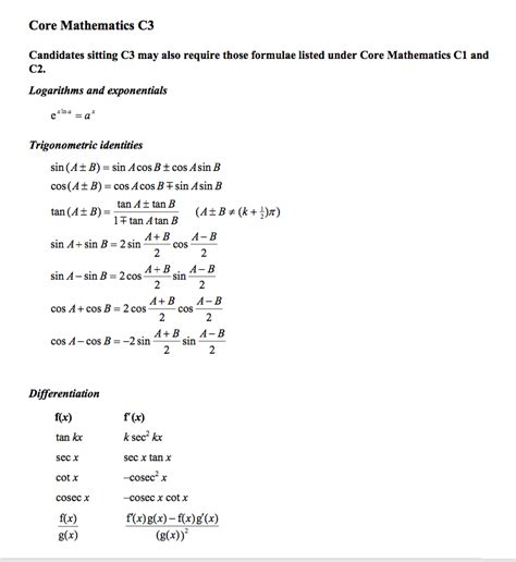 c3 formula sheet revision notes in a level and ib