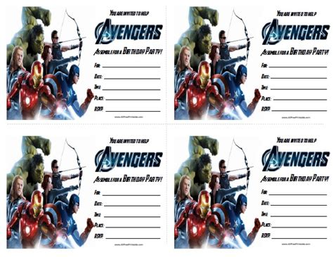 marvel birthday card template birthday invitations free printable