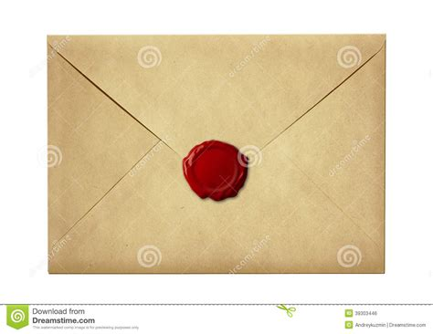 Letter Pic mail envelope or letter sealed with wax seal st stock